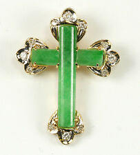 18K Jade Cross with Diamond Accents