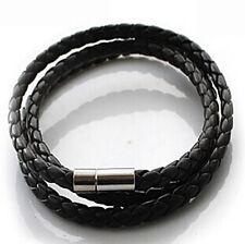 1Pc Fashion Women Men Black Leather Interlaced Cuff Bangle Wristband Bracelet