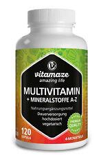 (€15,93/100g) Multivitamin Mineralien - 120 vegetarische Kapseln Made in Germany