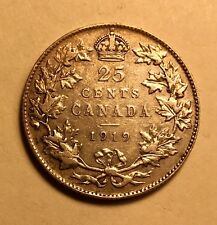 CANADA - George V - 25 Cents - 1919 - Very Fine - Nice Silver Coin!