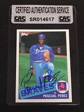 PASCUAL PEREZ 1985 TOPPS SIGNED  AUTOGRAPHED CARD #106 BRAVES CAS AUTHENTIC