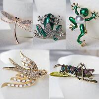 Frog Dragonfly Animal Crystal Pearl Enamel Brooch Pin Fashion Women Jewelry Gift