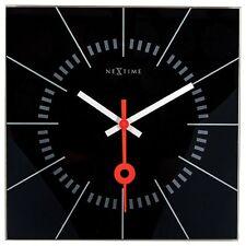 Nextime Horloge Murale Stazione 35x35cm Silencieux Salon Cuisine Verre Montre