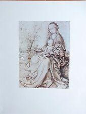 VIERGE à L'ENFANT par Martin SCHONGAUER Dessin Rehaussé Imprimé 197 x 270 mm
