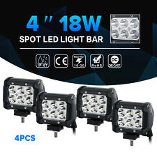 "4x 4""inch 18W CREE LED Work Light Bar Spot/Flood Offroad SUV ATV Driving UTE 12V"