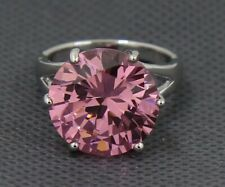 Elegant White Gold Filled Pink Diamond Personalized Wedding Ring Size 6.5#