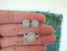 1.09 CTW Diamond Ring and Earrings Set 14K White Gold JS100 sep