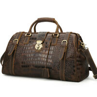 Retro Men Real Leather Overnight Luggage Duffle Gym Travel Weekend Shoulder Bag