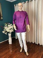 "40"" M Sherwani Suit Indian Bollywood Mens Kurtha Purple Cotton Outfit Kurta KS10"