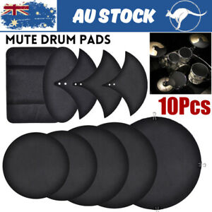 10Pcs Drum Mute Pads Silencer Drumming Practice Rubber Foam Pad Cymbal Mute Pads
