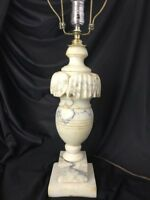 Vtg Neoclassical Hand Carved Italian Alabaster Marble Urn Lamp Grey Brown White