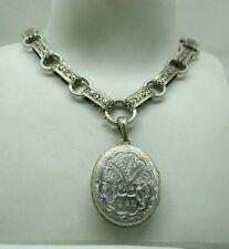 Beautiful Large Ornate Circa 1870 Victorian Silver Locket And Collarette