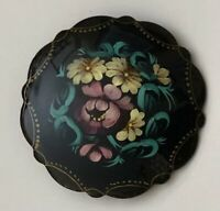 Vintage Russian lacquer floral  brooch pin