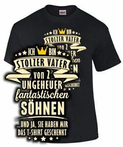 Papa T-Shirt STOLZER VATER VON 2 SÖHNEN UND JA SIE HABEN .. Spruch Sohn Geschenk