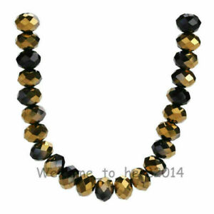 8x6mm Rondelle Faceted Crystal Glass Loose Spacer Colorized Beads 69Colors#