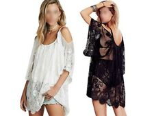 Boho Beach Sexy Strap Backless Lace Floral Crochet Mini Dress Loose Tops