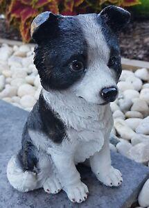 Border Collie Dog Puppy Statue Ornament Figurine Garden Sculpture Décor 20 cm