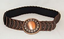 Vintage 80's Disco Rhinestone Buckle Copper Black Embossed Fish Scale Belt