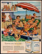 1956 JOHNSON'S Baby Oil - Cute Babies Sunbathing On Boat Cartoon VINTAGE AD