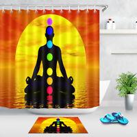 "Sunset Colorful Chakras Shower Curtain Hooks Bathroom Waterproof Fabric 72X72"""