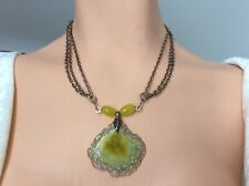 Yellow agate slice pendant yellow jade bead necklace antique gold chain