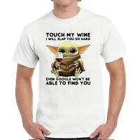 YODA T SHIRT DONT TOUCH MY WINE MEN UNISEX GIFT TOP MANDALORIAN  STAR WARS TOP
