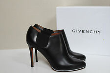 New Givenchy Black Leather Silver trim sole Ankle Bootie Heel Shoes sz 9.5 / 40