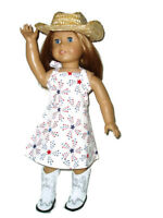 "4pc  Patriotic Cowgirl Outfit 18"" Doll Clothes fits American Girl Dress"