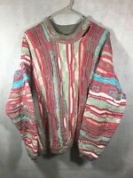 Vintage Coogi Sweater Size Large 90's Rare Pink Color Way Textured Knit sweater