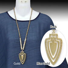 3 Layer Hammered Gold Metal Arrow Head Pendant & Wood Bead Long Necklace.