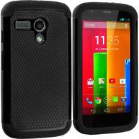 For Motorola Moto G Hybrid Heavy Duty Hard Rugged Shockproof Case Cover Black