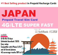 Japan Travel Data Sim -  40 to 60 days unlimited data Softbank 4G rechargeable