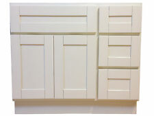 36-inch Vanity Cabinet with Right Drawers Creme White