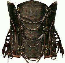 SEXY Pirate Steampunk rustic steel boned underbust corset g string XXL