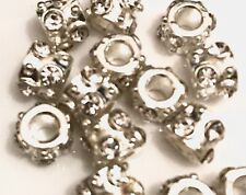 Silver Beads With Clear Gems Large Hole Pack of 18