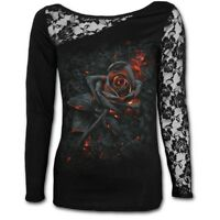 Spiral Direct BURNT ROSE Long Sleeved Lace/Goth/Ladies/Roses/Gothic/Top/Tee/Girl