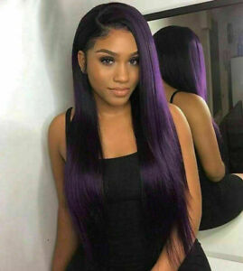 Luxury Lace Front Remy Dark Purple Glueless Straight Full Lace Human Hair Wig