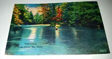 Vintage Postcard Trout Fishing In The Pocono Mts. Pennsylvania