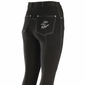 "Legacy 34"" Ladies Jodhpurs Contrast Stitching UK16 - Black & Silver - WAS £38.65"