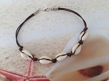 NAUTICAL COWRIE SHELL BROWN CORD LOBSTER CLASP CHAIN BEACH ANKLET JEWELLERY