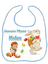 Bavoir bébé garçon joyeuses pâques personnalisé avec prénom réf G21