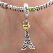 S925 Sterling Silver Eiffel Tower Pendant Charm Dangle Gold Heat Fit Bracelet