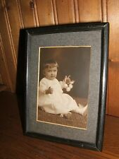 Antique Metal Lined Design Stand Photo Frame with Baby Photo Marked Germany