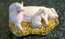 Royal Doulton Resin Hand Made Large White Pig & Piglets Figure Sculpture