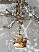 Vintage Unusual Carved Wood Necklace, Bohemian, Boho Bird Necklace Dove