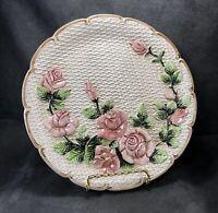 "Hand Painted Takahashi San Francisco Rose Basket Weave 8"" Plate Floral Platter ~"