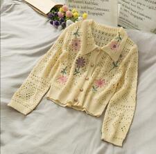 Korean Style Vintage Women's Floral Crewneck Hallow Out Sweather Cardigan