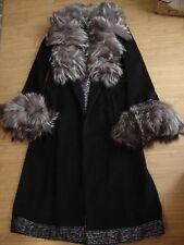 St. John Cashmere & Fox Fur Black Jacket Winter Long Coat Winter Size 6