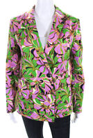 La Double J Womens Floral Print Carnevale Blazer Pink Green Size Extra Small