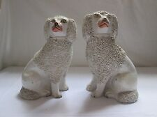 Pair Of Mid 19th Century Victorian Staffordshire Poodle Dog Figures. One A/F